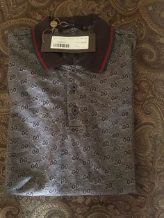 4100c2fa6394 Gucci Brown Jacquard Polo Shirt with GG Monogram Size Large New with Tags  50 | eBay