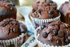 Triple Chocolate Brownie Zucchini Muffins are moist, fudgy muffins, made with three kinds of chocolate, that taste like brownies! A great use for zucchini! Zucchini Muffin Recipes, Zucchini Muffins, Zucchini Bread, Triple Chocolate Muffins, Chocolate Cookies, Chocolate Chips, Chocolate Zucchini Brownies, Reeses Peanut Butter, Vegetarian Chocolate