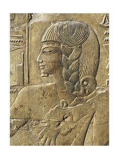 Egypt, Thebes, Luxor, Valley of the Kings, Close-Up of Relief in Corridor, Tomb of Seti I