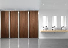Paraline Platinum™ is a high quality toilet cubicle featuring brushed Stainless Steel pilasters and headrail, the perfect choice for any high-end washroom.