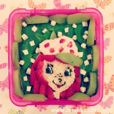 Week 22 lunch for my daughter: Strawberry Shortcake.  Here is the lunch for this week, check out all the details on www.lunchboxdad.com. #bento #kidslunches