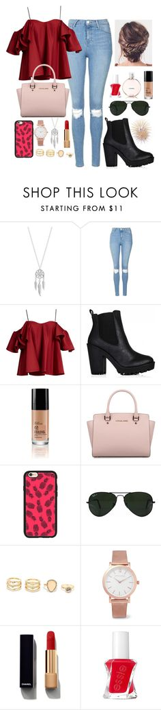 """Untitled #666"" by cupcakes077 ❤ liked on Polyvore featuring Lucky Brand, Topshop, Anna October, Michael Kors, Casetify, Ray-Ban, LULUS, Larsson & Jennings, Chanel and Essie"