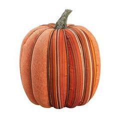 Northlight Orange Fabric Pumpkin Figurine Indoor Thanksgiving Decorati