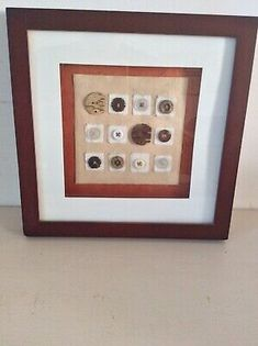 Framed Artwork Of Buttons on cotton backing.Includes wooden round buttons, plastic & 2 wooden elephant buttons inside a boxed wood frame. Wooden Elephant, Pictures To Paint, Home Decor Styles, Framed Artwork, Buttons, Paintings, Ebay, Painting Art, Painting