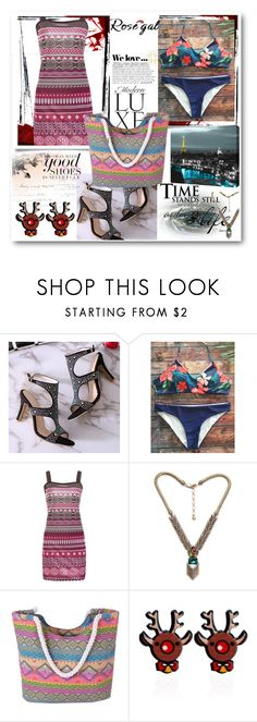 """Tropical Print Halter Bikini - Purplish Blue"" by ane-twist ❤ liked on Polyvore featuring Zara and ArtWall"