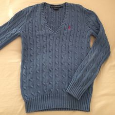 Ralph Lauren V-Neck Cotton Sweater Long sleeves. Ribbed cuffs and hem. Slight discoloration on one spot behind left sleeve but hardly noticeable. 100% cotton. Ralph Lauren Sweaters V-Necks