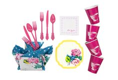 Poppytalk for Target – Plastic cutlery, 30 count, $4.00, 12oz Paper cups, 10 count, $3.00, Scalloped snack plates, 10 count, $3.00, 3-ply Beverage napkins, 20 count, $3.00, Collapsible caddy, $5.00.