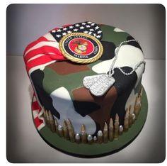 Marine/Camo/American Flag Birthday Cake - Cake by Dani Army Cake, Military Cake, Military Party, Army Party, Military Retirement, Military Wedding, Marine Corps Cake, Marine Corps Birthday, Grooms Cake Tables