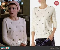 April's white embellished sweater on Chasing Life.  Outfit Details: http://wornontv.net/46321/ #ChasingLife
