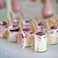 Mini Glass Milk Pots -  cute, mini glass jars make a fantastic visual display for small desserts and are ideal for beverages too. Mouths of Mums love these from Tout Mon Amour