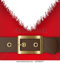 Red Santa Claus suit, leather belt with gold buckle, white beard, concept for greeting or postal card, vector illustration