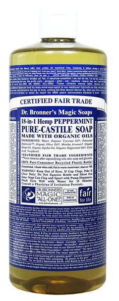 Amazon.com : Dr. Bronner's Magic Soaps Pure-Castile Soap, 18-in-1 Hemp Peppermint, 32 Ounce Bottle : Camping Soaps And Shampoos : Beauty