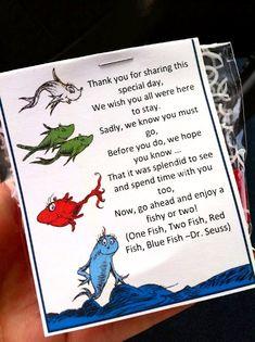 favors - swedish fish (Dr. Seuss - one fish, two fish, red fish, blue fish)