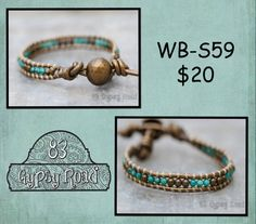 WB-S59 beaded wrap bracelet Single wrap metallic by 83GypsyRoad