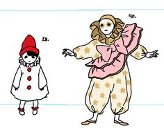 the small Pierrot from a vintage greeting card and an insanely trussed up Pierrot doll Character Concept, Character Art, Concept Art, Pretty Art, Cute Art, Cute Clown, Poses References, Character Design Inspiration, Cute Drawings