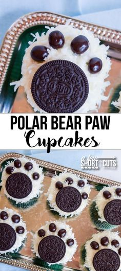 Holiday cupcakes with a twist! That is what these Polar Bear Paw Cupcakes are! My kids love animals of any kind, so I thought it would be fun to whip up some polar bear paw cupcakes to celebrate the cooler weather outside. Bear Cupcakes, Cupcake Cakes, Fun Cupcakes, Winter Cupcakes, Decorated Cupcakes, Cupcake Party, Animal Cupcakes, Holiday Cupcakes, Lemon Cupcakes