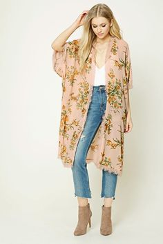 Style Deals - A semi-sheer woven kimono featuring an allover floral print, eyelash lace trim, short dolman sleeves, vented sides, an open-front, and a longline silhouette.