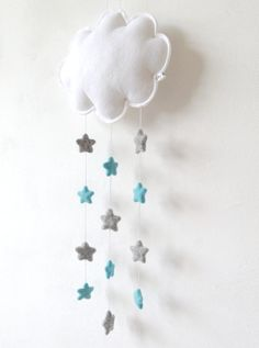 ** Starry Night **  This white cloud with blue and grey stars catches your eye when you enter a nursery or childs room. Perfect to place on a wall, door or in a window. Cloud measures 24 x 20 cm (+/- 9.5 x 7.8 inches)   Warning: Please note this mobile is NOT a toy, it is for decoration purposes only. Please make sure it is securely attached out of your childs reach.  Note: color may vary depending on your monitor calibration.   View all my items: https://www.etsy.com/shop...