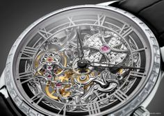 Vacherin Constantin / Calibre 4400, this sculptural work with its airy, transparent and finely arched construction exalting the art of openworking vividly evokes the large European railway stations symbolising the golden age of the industrial revolution. The engraver's technique is reinvented to resemble that of the sculptor, revealing fascinating light effects conveyed through a three-dimensional architecture enhanced by another artistic craft: that of Grand Feu enamelling.