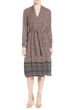 Kobi Halperin 'Margeaux' Print Silk Tie Front A-Line Dress