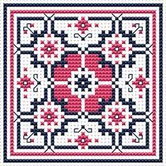 Dusty Rose Biscornu, free cross stitch pattern from Alita Designs