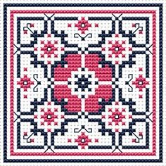 Dusty Rose Biscornu, free cross stitch pattern from Alita Designs
