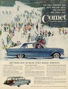 1961 Ford Mercury Comet Car Ad Snow Ski Illustration Blue Automobile Vintage Advertising Wall Art Decor Print