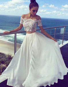 2 Teilig Abendkleider Lang Günstig Weiße Abendmoden Mit Spitze_Brautkleider,Abiballkleider,Abendkleider