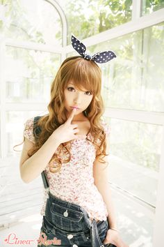 GYARU GIRL, floral top with overalls,japanese fashion