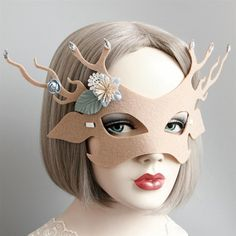 Women Girl Cute Elk Half Face Mask Fabic for Cosplay Costume Valentines Day for sale online Animal Face Mask, Animal Masks, Christmas Carnival, Halloween Christmas, Halloween Cosplay, Cosplay Costumes, Princess Face, Half Face Mask, Masquerade Party