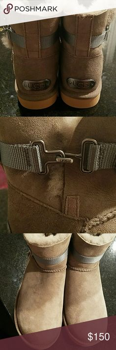 Authentic UGG Boots New Never Worn Beautiful Special Ed. Tan/Brownish Chestnut Color with Gray Belt, has Metal UGG plates on the back and on the belt buckles, NO TRADES NO PP NO OTHER APPS, Box is not included UGG Shoes