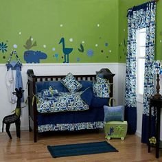 Blue, green, and brown nursery