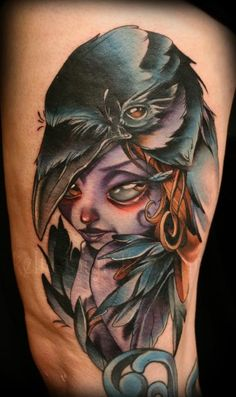 Kelly-Doty-Girl-And-Crow-New-School-Tattoo.jpg (371×625)
