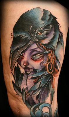 Kelly-Doty-Girl-And-Crow-New-School-Tattoo.jpg (371×625)