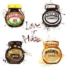 Marmite love or Hate! Marmite, Sound & Vision, Art Club, Design Development, Guinness, Natural World, Screen Printing, Giclee Print, Hate