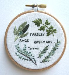 Embroidery Pattern - PDF Download - Herb Garden - Parsley, Sage, Rosemary & Thyme - 3 inch Hoop - Digital Download
