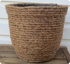 DIY rope planter. I did this with a wicker basket for toy storage.  # Nautical boy's room # kid's # toddler