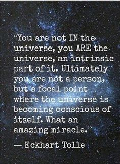We are all a miracle and one with the universe.  One with each other!!