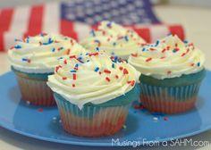 Patriotic Cupcakes Recipe - red white and blue fun