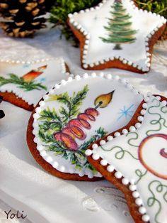 Вкусно с Йоли: Коледни бисквити с кафе Beautiful hand-painted decorated Christmas cookies from yoli-www.blogspot.com.es