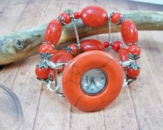 Red Stretch Band and Watch Beaded Watch Band by babbleon on Etsy, $35.00