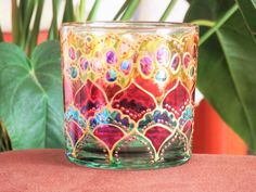 Hand painted Glass Candle Holder Candle Holder by LajjaDecor candle holder Items similar to Hand painted Glass Candle Holder, Candle Holder Centerpiece, Lightning, Tealight Candle Holder, Votive Candle Holder on Etsy Lantern Tea Light Holders, Tealight Candle Holders, Tea Light Candles, Tea Lights, Mosaic Glass, Glass Art, Old Wine Bottles, Stained Glass Designs, Lightning