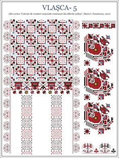 Semne Cusute: ie din Vlasca, MUNTENIA Blackwork Embroidery, Folk Embroidery, Embroidery Stitches, Embroidery Patterns, Cross Stitch Patterns, Beading Patterns, Pixel Art, Hand Stitching, Needlepoint