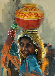 Women Painting - 028 Sindh by Mahnoor Shah