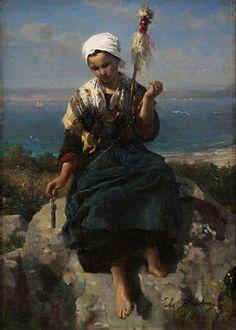 Jules Breton - Fileuse de lin