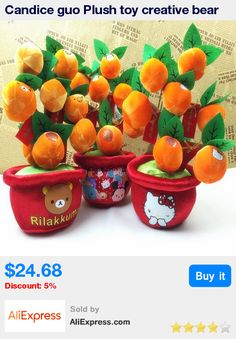 Candice guo Plush toy creative bear kitty Rilakkuma lucky orange tree model home decoration children stuffed funny baby gift set * Pub Date: 09:45 Apr 11 2017