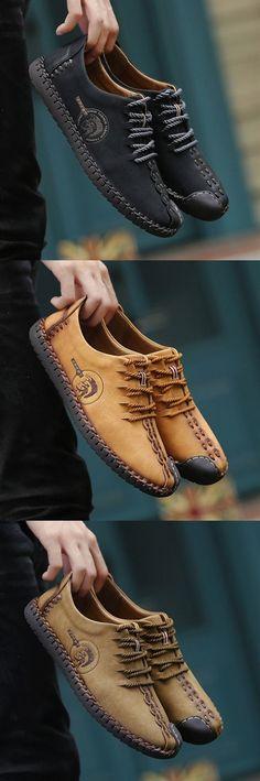 61e11b8b35c29 Men Clothing Men British Style Retro Stiching Soft Sole Lace Up Flat  Cap-toe Casual Shoes Men ClothingSource   Men British Style Retro Stiching  Soft Sole ...