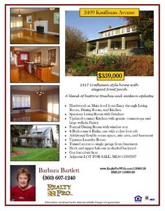 Real Estate for Sale at $359,000! Four Bedroom, four Bath, 3360 square foot updated three level Hough vicinity Craftsman style home on .19 acre lot located at 2409 Kauffman Avenue, Vancouver, Washington 98660 in Clark County area 11 which is the Downtown area in Vancouver. The RMLS number is 15089120. It has one wood fireplace and a view of trees. It was built in 1917 and the local high school is Hudsons Bay High. The annual taxes due are $2,700.85. It is not a short sale nor a bank owned…
