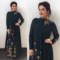 RidhiMehra,RaveenaTandom-Raveena Tandon in the RidhiMehra emerald green, draped Fontana jumpsuit from our ARCADIA Collection 🌿Styled by Gown Party Wear, Party Wear Indian Dresses, Indian Gowns Dresses, Indian Fashion Dresses, Indian Designer Outfits, Pakistani Dresses, Indian Outfits, Designer Dresses, Fashion Outfits