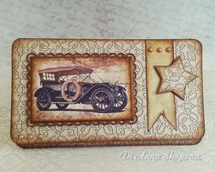 Handmade Birthday Card Male, mens, vintage car/vehicle money/voucher envelope